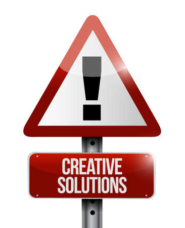 design solutions: creative solutions warning road sign concept illustration design graphic Illustration
