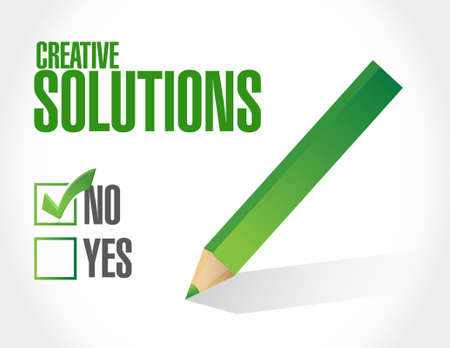 design solutions: no creative solutions approval sign concept illustration design graphic