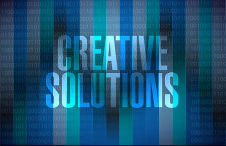 design solutions: creative solutions binary background sign concept illustration design graphic