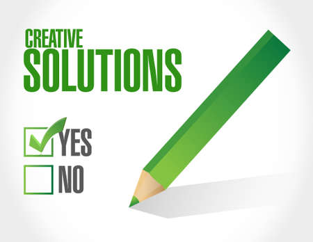 design solutions: creative solutions approval sign concept illustration design graphic