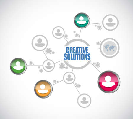 design solutions: creative solutions people diagram sign concept illustration design graphic Illustration
