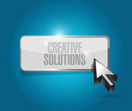 design solutions: creative solutions button sign concept illustration design graphic Illustration