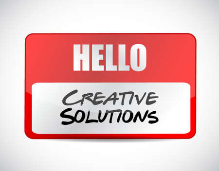 design solutions: creative solutions name tag sign concept illustration design graphic