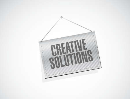 design solutions: creative solutions hanging banner sign concept illustration design graphic Illustration