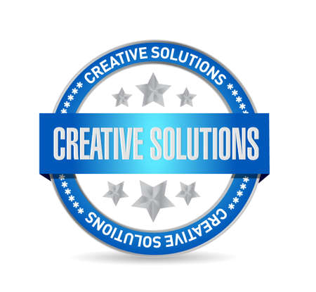 design solutions: creative solutions seal sign concept illustration design graphic Illustration