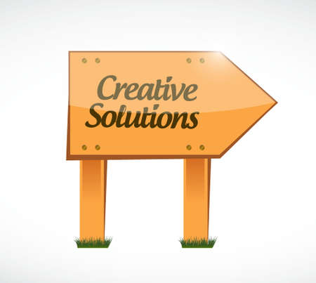 design solutions: creative solutions wood sign concept illustration design graphic