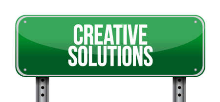 design solutions: creative solutions road sign concept illustration design graphic Illustration