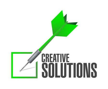design solutions: creative solutions check dart sign concept illustration design graphic Illustration