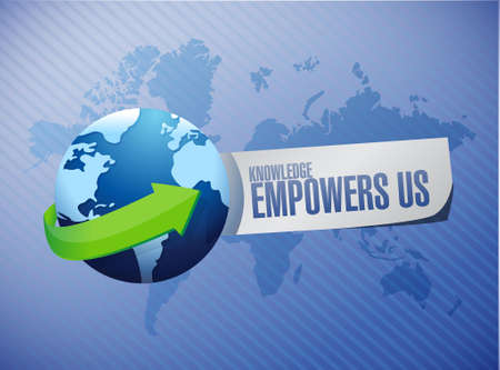 knowledge empowers us global sign concept illustration design graphic