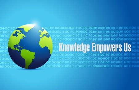 binary globe: knowledge empowers us binary globe sign concept illustration design graphic