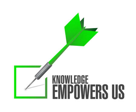 knowledge empowers us check dart sign concept illustration design graphic Vectores