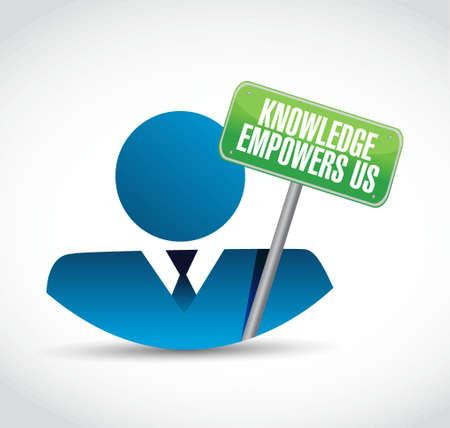 kennis stelt ons zakenman begrip teken illustratie grafisch