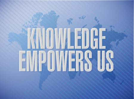 leadership potential: knowledge empowers us world map sign concept illustration design graphic Illustration