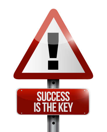 Success is the key warning road sign concept illustration design graphic