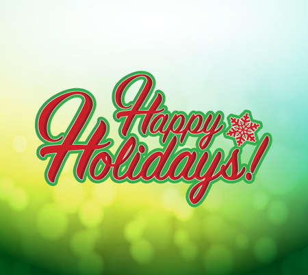 Happy holidays sign green background illustration graphics