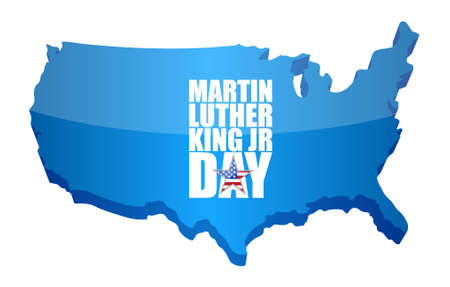 national hero: Martin Luther King JR day sign us map illustration design