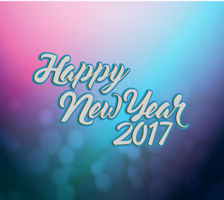 happy new year 2017 pink and blue bokeh illustration design background Illustration