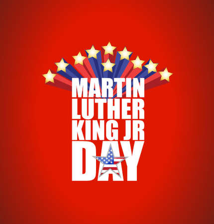 american downloads: Martin Luther King JR day sign with stars illustration background Illustration