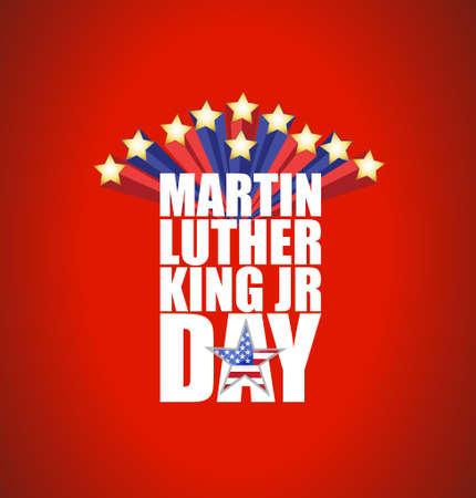Martin Luther King JR day sign with stars illustration background Illustration