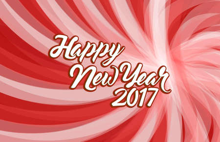 happy new year 2017 red wave illustration design background