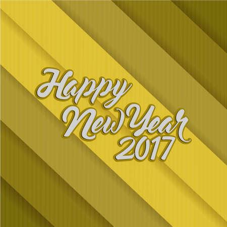 happy new year 2017 gold lines illustration design background Çizim