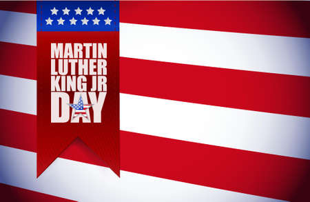 national hero: Martin Luther King JR day sign illustration us flag background Illustration