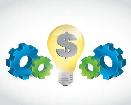 graphic icon: Dollar gears icon concept illustration design graphic over white