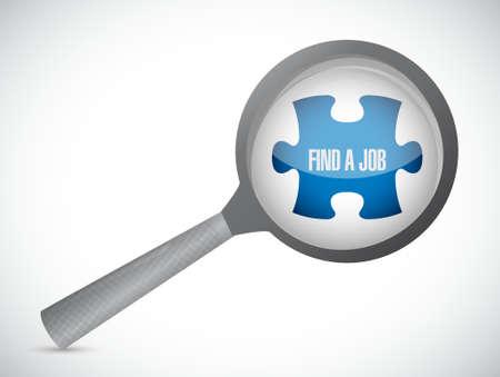 find a job puzzle piece under magnify illustration design graphic