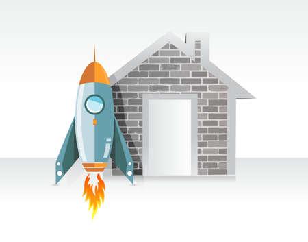 rocket real estate prices concept illustration design graphic