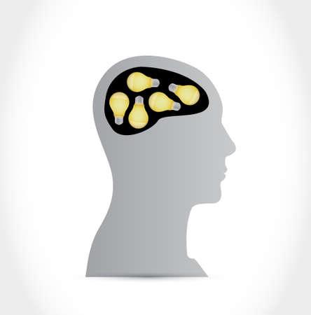 head and hight bulb idea brain concept illustration design graphic