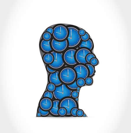 cronologia: Concepto del tiempo. Grupo de objetos del reloj formados como cabeza humana. ilustración