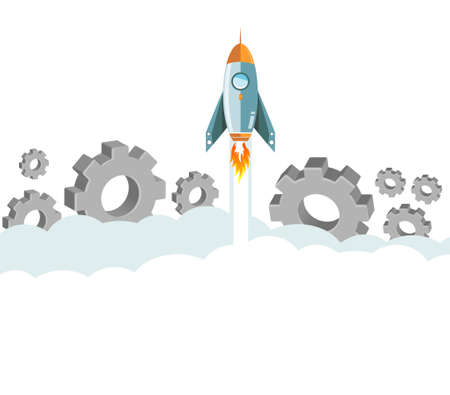 flying rocket over clouds and gears. illustration design graphic