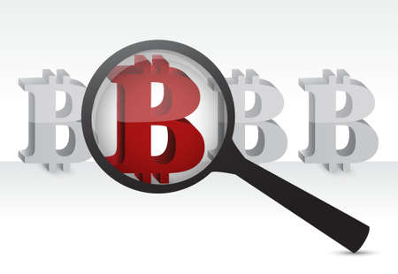 red bitcoin under a magnify glass illustration design graphic over white Illustration