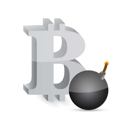 metal net: bitcoin boom illustration design graphic over white Illustration
