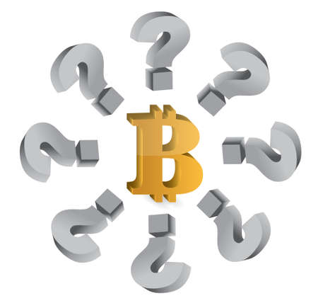 unanswered: bitcoin and question marks concept illustration design graphic over white