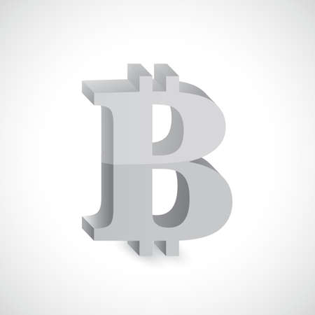 metal net: bitcoin silver currency illustration design graphic over white Illustration