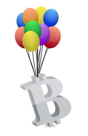 bitcoin and bubbles illustration design graphic over white