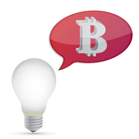 metal net: bitcoin and lightbulb message illustration design graphic over white