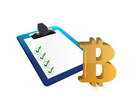 currency symbol: Bitcoin currency symbol and clipboard illustration design isolated graphic