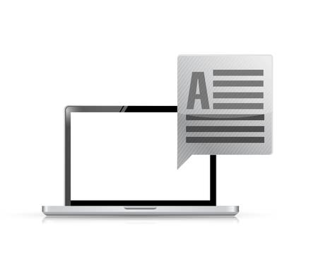 communication bubble and a laptop computer. illustration design isolated over white
