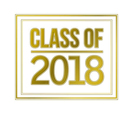 class of 2018 gold sign illustration design graphic isolated over white