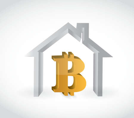 Bitcoin currency symbol and house illustration design isolated graphic