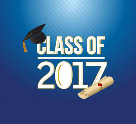 school class: class of 2018 white sign illustration design graphic over a blue background Illustration