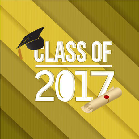 class of 2018 white sign illustration design graphic over a gold background