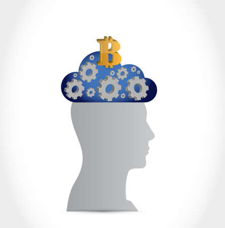 Bitcoin currency symbol and mind cloud illustration design isolated graphic Illustration