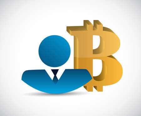 currency symbol: Bitcoin currency symbol and businessman illustration design isolated graphic Illustration
