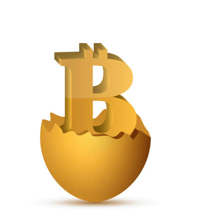 currency symbol: Bitcoin currency symbol inside egg illustration design isolated graphic Illustration