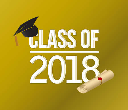 class of 2018 white on gold sign illustration design graphic