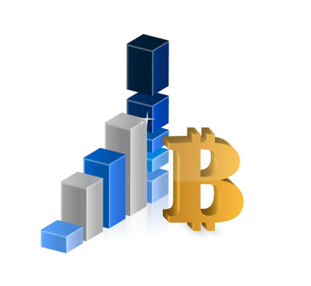 currency symbol: Bitcoin currency symbol and business graph illustration design isolated graphic