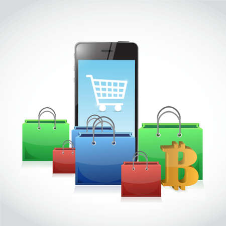 Bitcoin and mobile phone shopping concept illustration design isolated graphic 矢量图像
